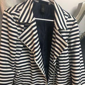 Blue and White Stripe Blazer